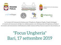 """""""FOCUS UNGHERIA"""": A BARI IL WORKSHOP DI REGIONE PUGLIA E CCIU"""