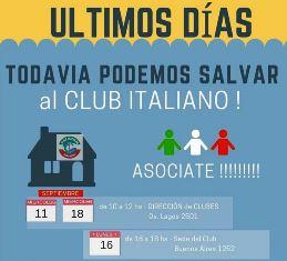 """ULTIMI GIORNI PER DIVENTARE SOCI DEL """"CLUB ITALIANO"""" DI ROSARIO E SALVARLO"""