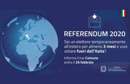 REFERENDUM: ELETTORI TEMPORANEAMENTE ALL'ESTERO