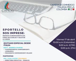 """COLOMBIA: DOMANI LA TAVOLA ROTONDA ONLINE """"SOS IMPRESE: COME USCIRE DALLA CRISI"""" CON LA CCI"""