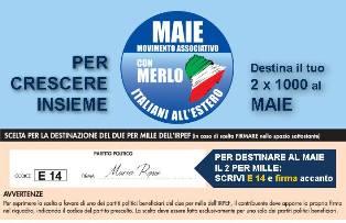 MAIE: IL 2X1000 PER I DIRITTI DEGLI ITALIANI ALL'ESTERO