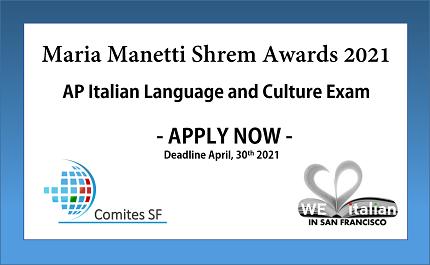Maria Manetti Shrem Awards 2021: il nuovo bando del Comites San Francisco