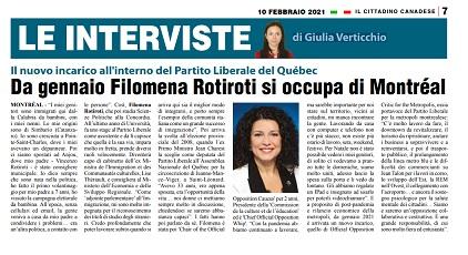 Da gennaio Filomena Rotiroti si occupa di Montréal - di Giulia Verticchio