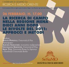 La ricerca di campo nella regione MENA dieci anni dopo le rivolte del 2011: dibattito con l'Università di Pisa
