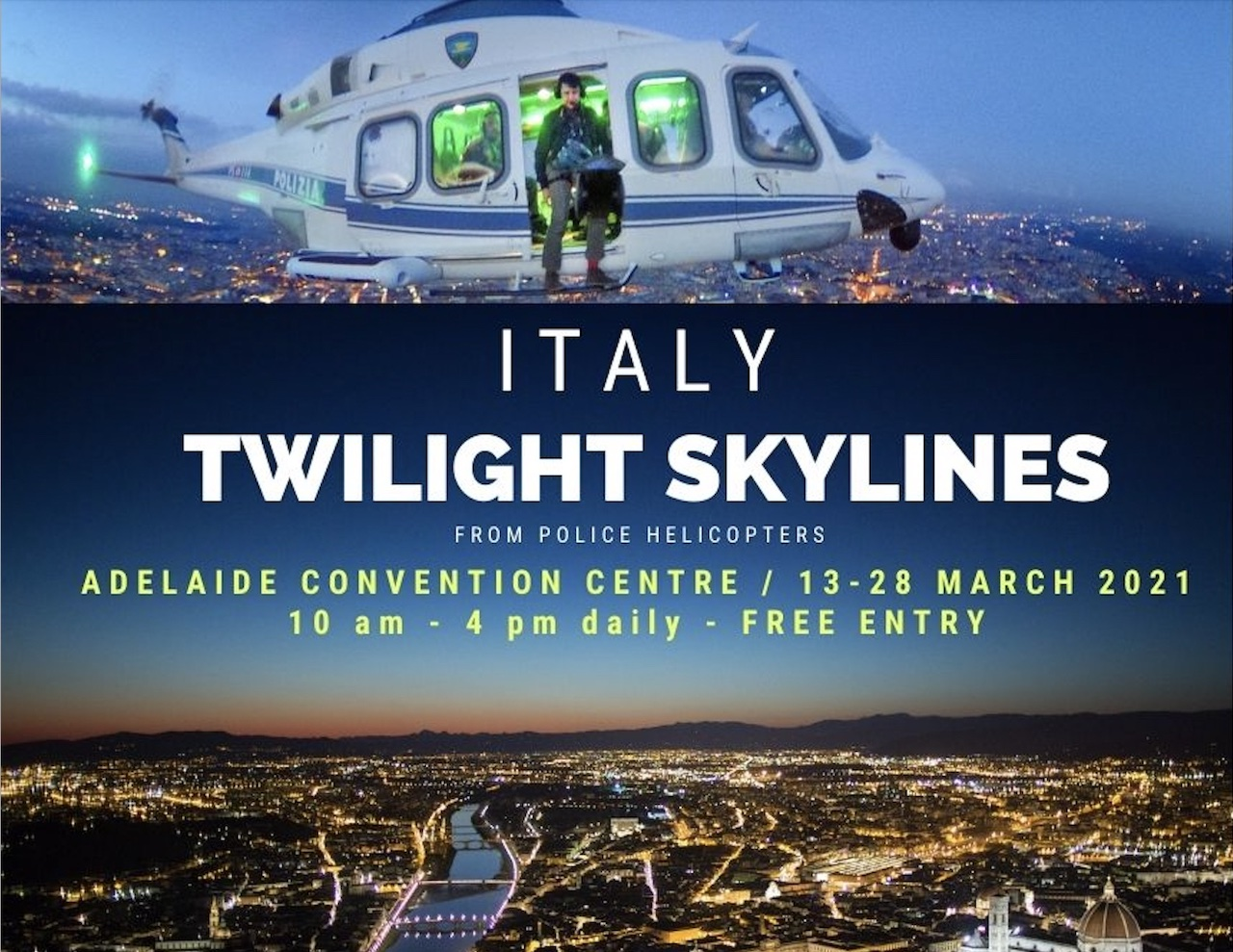 """Sbarca ad Adelaide la mostra """"Orizzonti d'Italia - Twilight skylines from Police helicopters"""""""