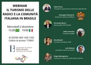 TURISMO DELLE RADICI: FOCUS SULLA COMUNITÀ ITALO-BRASILIANA NEL WEBINAR ORGANIZZATO DA ASSUD E ASSOCIAZIONE DI AMICIZIA ITALIA-BRASILE