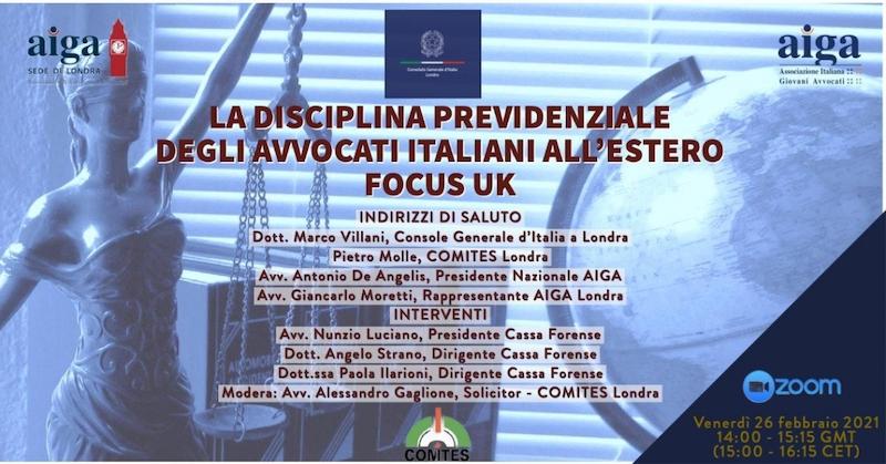 Londra: il console generale Villani al webinar sulla disciplina previdenziale degli avvocati italiani all'estero