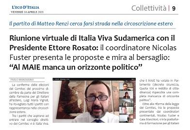 Riunione virtuale di Italia Viva Sudamerica con il Presidente Ettore Rosato – di Pablo Mandarino