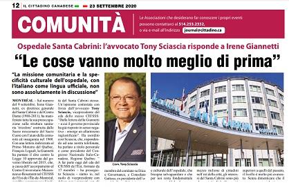 """OSPEDALE SANTA CABRINI/ L'AVVOCATO TONY SCIASCIA RISPONDE A IRENE GIANNETTI: """"LE COSE VANNO MOLTO MEGLIO DI PRIMA"""" – di Vittorio Giordano"""