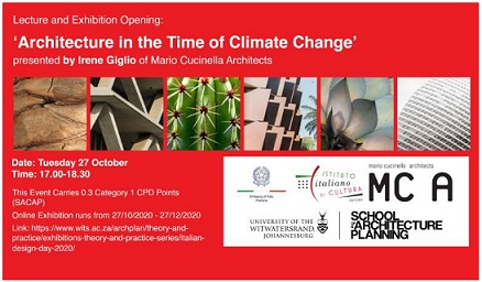 """ARCHITECTURE IN THE TIME OF CLIMATE CHANGE"": IRENE GIGLIO A PRETORIA PER LA GIORNATA DEL DESIGN ITALIANO"