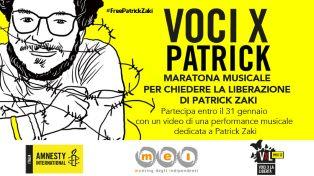 Free Patrick Zaki: l'8 febbraio una maratona musicale per la liberazione dello studente egiziano