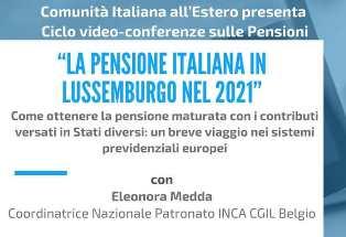 """La pensione italiana in Lussemburgo: domani nuovo incontro online con """"Comunità italiana all'estero"""""""