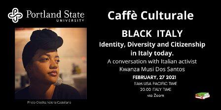"""Black Italy: Kwanza Musi Dos Santos ospite di """"Caffè Culturale"""""""