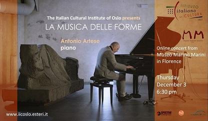 """""""LA MUSICA DELLE FORME"""": ANTONIO ARTESE IN CONCERTO IN DIRETTA STREAMING PER L"""