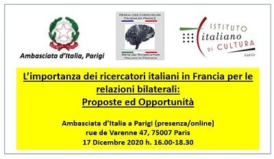 """""""L'IMPORTANZA DEI RICERCATORI ITALIANI IN FRANCIA PER LE RELAZIONI BILATERALI"""": TAVOLA ROTONDA PROMOSSA DA AMBASCIATA E RECIF"""