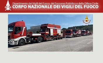 ITALIA – ALBANIA: MEZZI DEI VIGILI DEL FUOCO A DURAZZO
