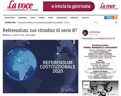 REFERENDUM: NOI CITTADINI DI SERIE B? - di Mauro Bafile