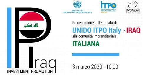ITPO Italy presenta alle imprese italiane le attività del progetto UNIDO in Iraq
