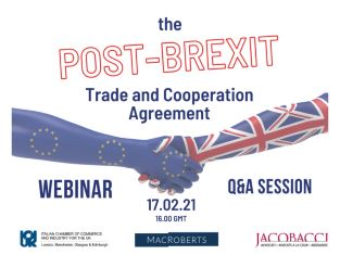 """Post-Brexit: Il Trade and Cooperation Agreement"": il webinar della CciUk"