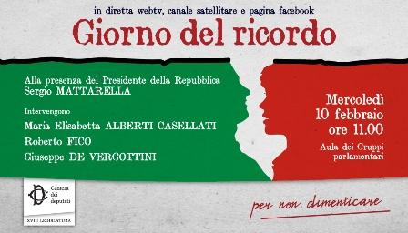 Giorno del ricordo: domani la cerimonia alla Camera con Mattarella