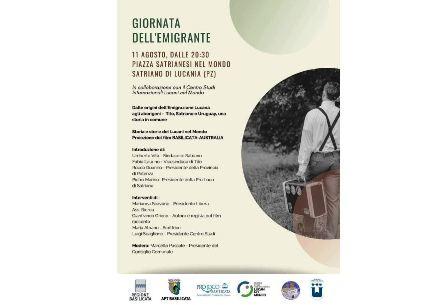 LUCANI NEL MONDO: DOMANI A SATRIANO LA GIORNATA DELL'EMIGRANTE