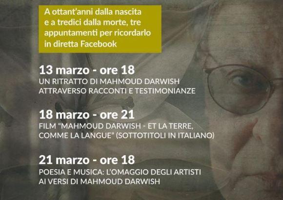 """Mahmoud Darwish poeta del mondo"": 3 appuntamenti online con AssoPace Palestina"