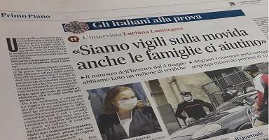 INIZIO DELLA FASE 2: IL MINISTRO LAMORGESE PROMUOVE IL COMPORTAMENTO DEGLI ITALIANI
