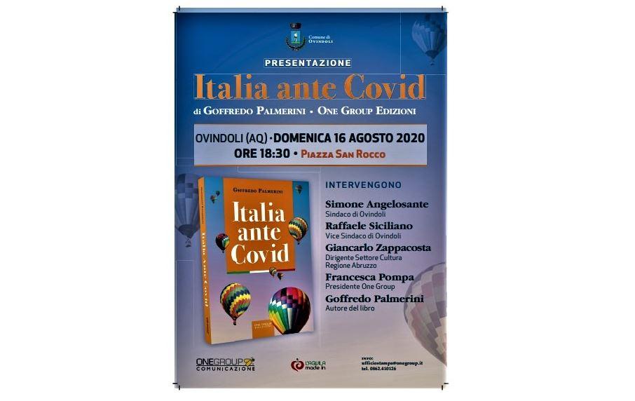 """""""ITALIA ANTE COVID"""": DOMENICA LA PRESENTAZIONE DEL LIBRO DI PALMERINI IN ABRUZZO"""