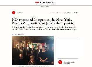 PD RITORNO AL CONGRESSO: DA NEW YORK NICOLA ZINGARETTI SPIEGA L'IDEALE DI PARTITO