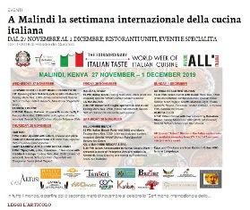A MALINDI LA SETTIMANA INTERNAZIONALE DELLA CUCINA ITALIANA – di Freddie Del Curatolo