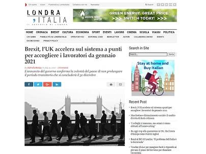 BREXIT: L'UK ACCELERA SUL SISTEMA A PUNTI PER ACCOGLIERE I LAVORATORI DA GENNAIO 2021 – di Gabriella Bettiga