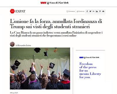 L'UNIONE FA LA FORZA: ANNULLATA L'ORDINANZA DI TRUMP SUI VISTI DEGLI STUDENTI STRANIERI – di Alessandra Loiero