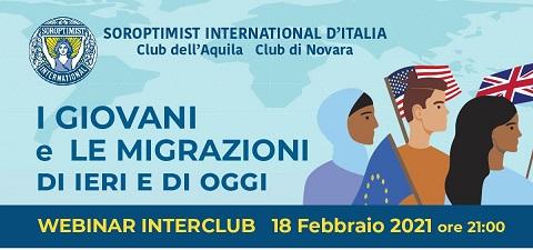 """""""I giovani e le migrazioni di ieri e di oggi"""": il webinar del Club dell'Aquila e Novara"""