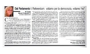 """REFERENDUM: VOTIAMO PER LA DEMOCRAZIA, VOTIAMO """"NO"""" - di Fucsia Nissoli"""