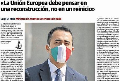 """DI MAIO A """"EL CORREO"""": IN EUROPA È IL MOMENTO DELL'UNITÀ, NON DELLA SFIDUCIA"""