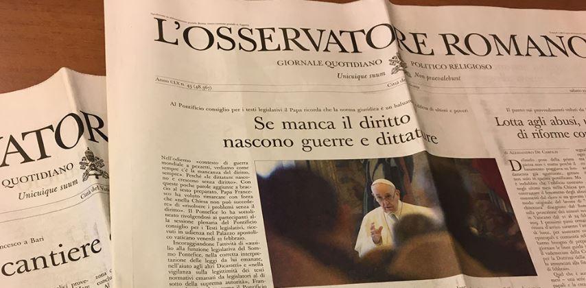 """Rai Italia: il quotidiano """"L'Osservatore Romano"""" a L'Italia con voi"""