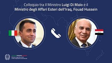 ITALIA-IRAQ: COLLOQUIO TRA IL MINISTRO DI MAIO E L'OMOLOGO HUSSEIN