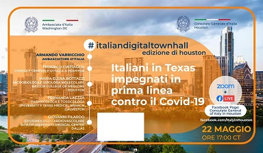 ITALIANI IN TEXAS IN PRIMA LINEA CONTRO IL COVID: DOMANI IL WEBINAR DEL CONSOLATO CON L'AMBASCIATORE VARRICCHIO