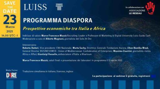 Italia-Africa: domani 3° appuntamento con i webinar del Programma Diaspore