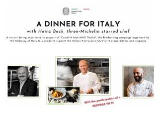 A DINNER FOR ITALY: CHEF STELLATI ALLA CENA VIRTUALE ORGANIZZATA DAL SISTEMA ITALIANO IN CANADA