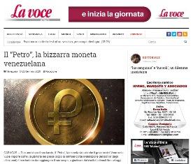 """IL """"PETRO"""": LA BIZZARRA MONETA VENEZUELANA – di Roberto Romanelli"""