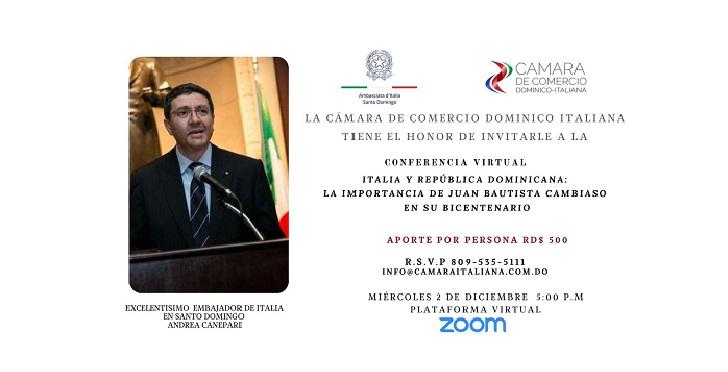 ITALIANI IN REPUBBLICA DOMINICANA: WEBINAR SU JUAN BAUTISTA CAMBIASO CON CCI E L'AMBASCIATORE