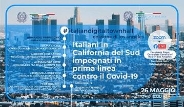 """""""ITALIANI IN CALIFORNIA DEL SUD IMPEGNATI IN PRIMA LINEA CONTRO IL COVID-19"""": SBARCA SULLA WEST COAST LA SERIE #ITALIANDIGITALTOWNHALL"""