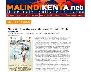 MALINDI CELEBRA IL 6 MARZO IL GENIO DI FELLINI AL WHITE ELEPHANT – di Leni Frau