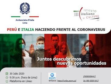 """""""PERÙ E ITALIA DI FRONTE AL CORONAVIRUS"""": SU ZOOM LA CONFERENZA DI AMBASCIATA E IIC A LIMA"""