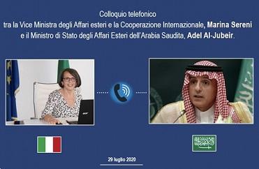 ARABIA SAUDITA: VIDEOCHIAMATA TRA IL VICE MINISTRO SERENI E IL MINISTRO DEGLI ESTERI AL JUBIER