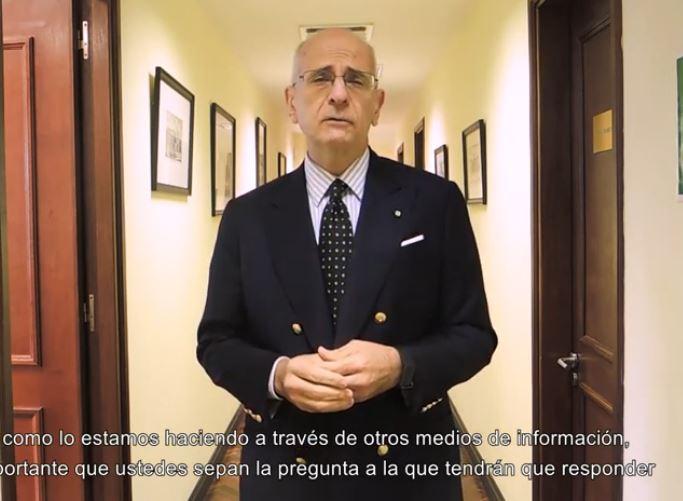 MONTEVIDEO: VIDEOMESSAGGIO DELL'AMBASCIATORE IANNUZZI SUL REFERENDUM
