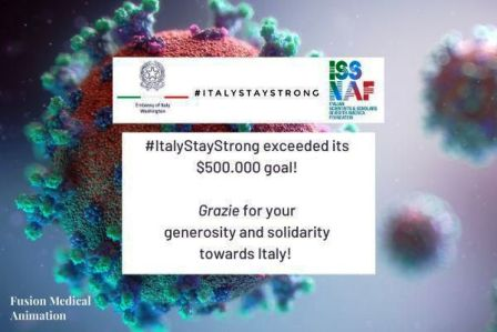 USA: AMBASCIATA E ISSNAF RACCOLGONO MEZZO MILIONE DI DOLLARI PER #ITALYSTAYSTRONG