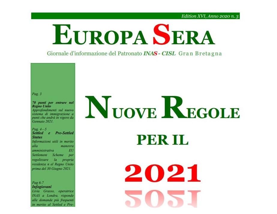 """""""Europa Sera"""": le regole per il 2021 post-Brexit nel giornale del Patronato INAS-CISL Uk"""