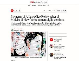 IL CINEMA DI ALBA E ALICE ROHRWACHER AL MOMA DI NEW YORK: LA MERAVIGLIA CONTINUA - di Stefano Vaccara